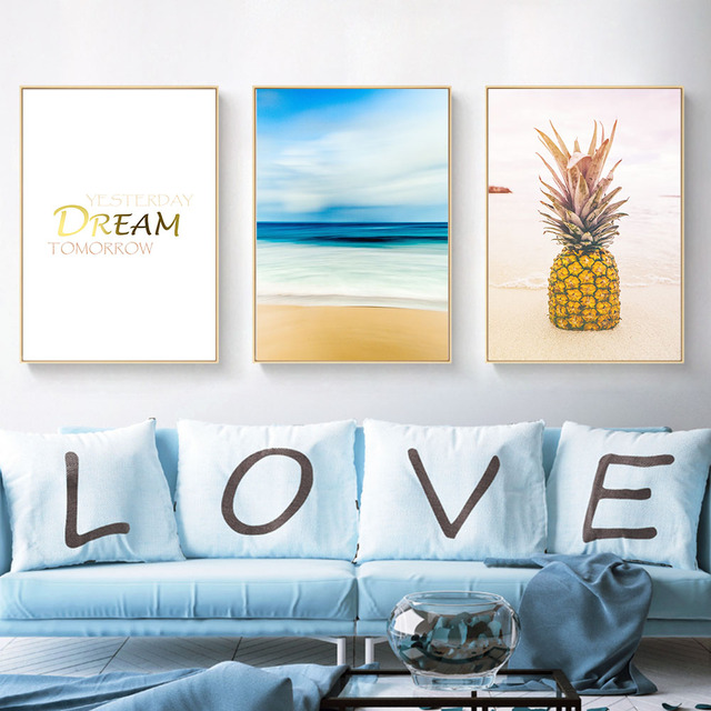 Pineapple Sea Landscape Motivational Canvas Poster Minimalist Canvas Art  Print Wall Art Painting Wall Picture For