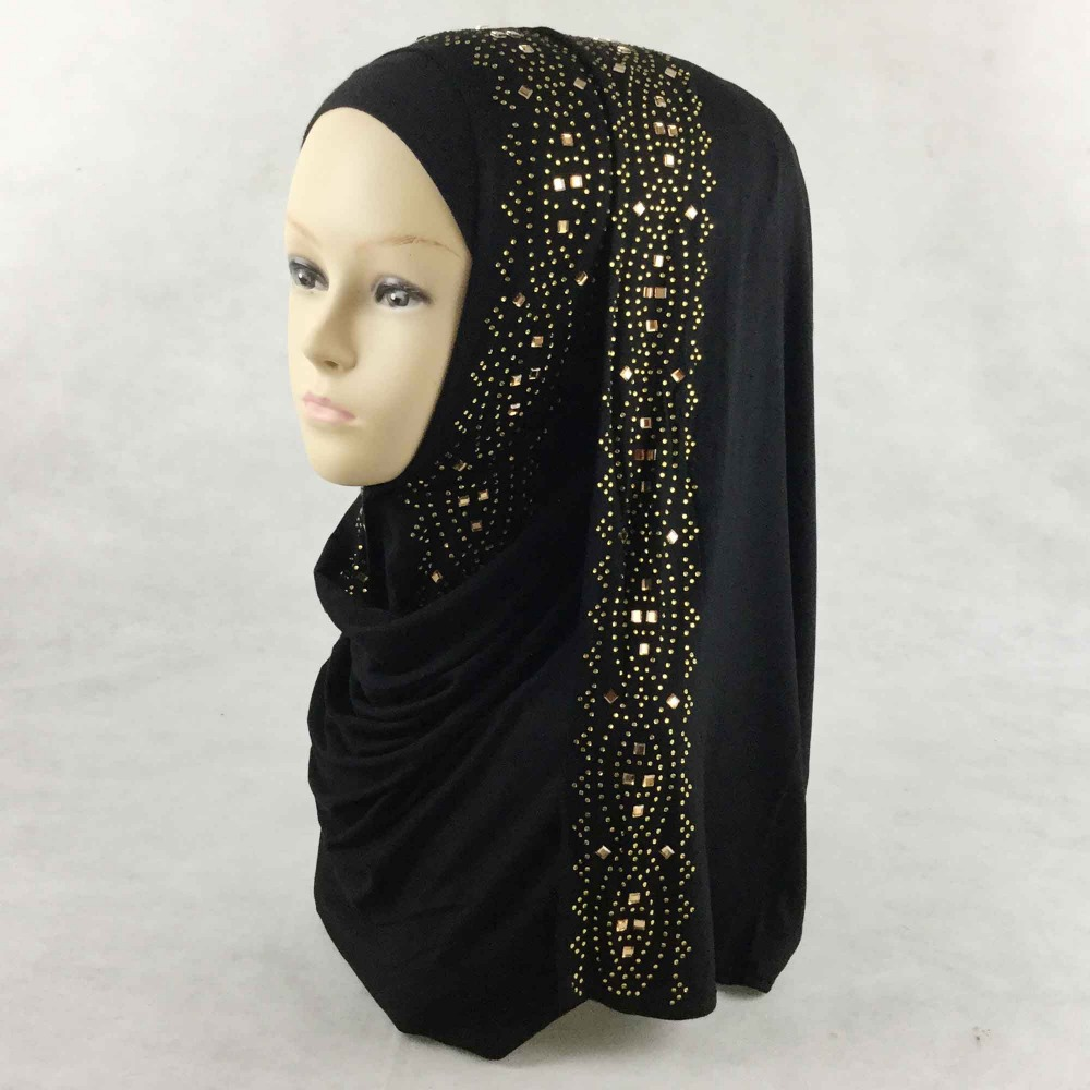 12 pieces lot muslim square stones jersey scarf muslim hijab glitter rhinestones shawl wrap express