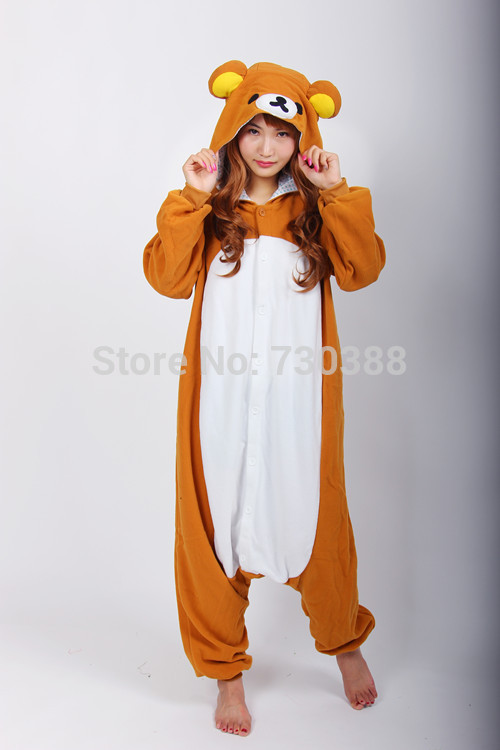 Funny Anime Rilakkuma Animal Bear Onesie for Women Men Adults Halloween Carnival Christmas Cosplay Pajamas Sleepwear