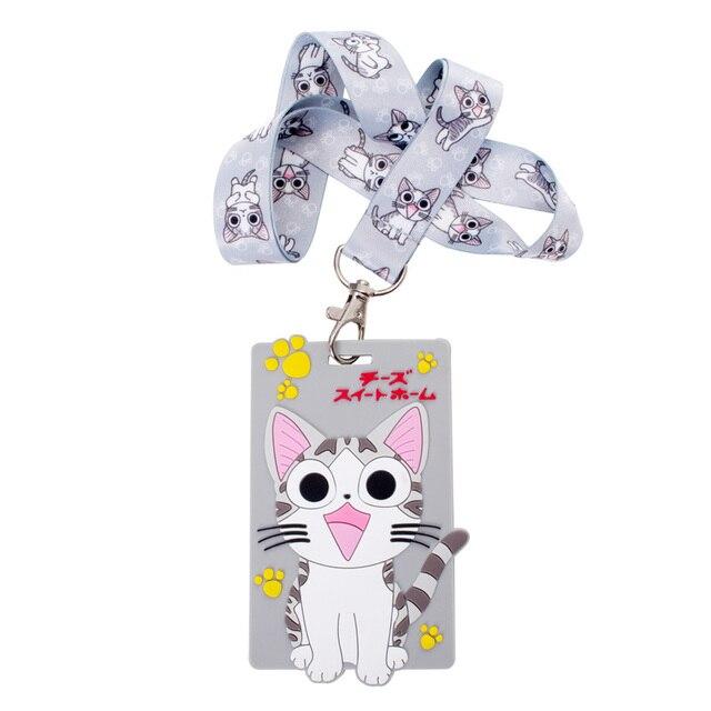 Doux Silicone Kiawai Fromage Chat ID Porte Badge Bus Nom Cartes De Visite