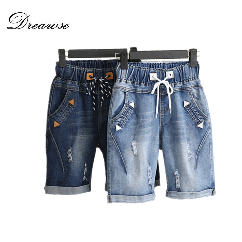 Dreawse Women Shorts Plus Size 5XL Harem Pants Summer Ripped   Jeans   Short Pants Casual Lace Up Capris Wide Leg Denim Shorts 2417