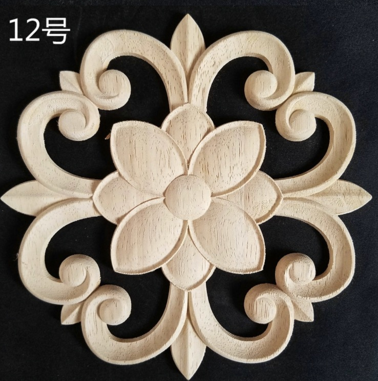 2pcs/lot Diameter:200mm. Thickness:8mm  Wood Carved Circular Decals Applique Door Decals Flowers