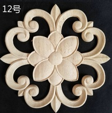 2pcs/lot Diameter:200mm. thickness:8mm  Wood carved circular decals Applique door flowers