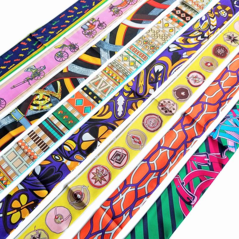 Bright Color Skinny Scarf Choker Fashion Women Bag Handle Decoration Stylish Bandana Headband Neckwear Silk Ribbon Series