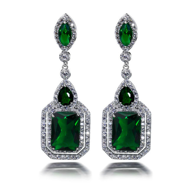 Elegante Longo brincos de forma quadrada para wedding party Red & montana cristal placa de Ródio jóias 3A cz cubic zirconia brincos