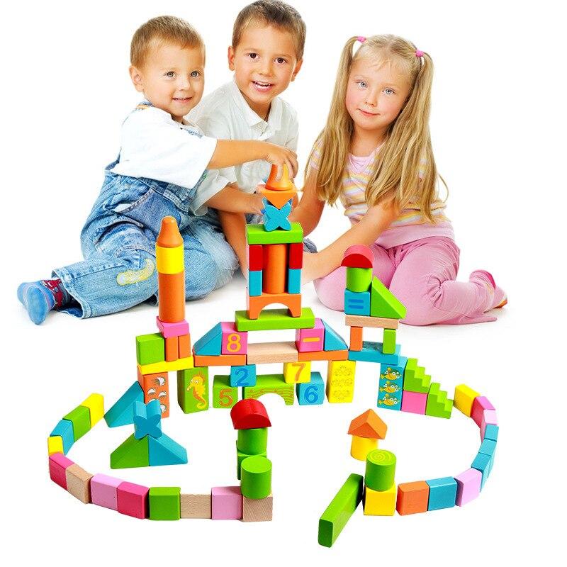 84 Pcs En Bois lettre Numérique Impression Tower Building Blocks Enfants Intellectuelle Développement Bâtiment Bébé Jouets Éducatifs