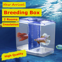 New 2 Rooms Betta Fish Breeding Boxes Double Guppies Hatching Incubator Isolation Acrylic Mini Aquarium Tanks Durable AT004