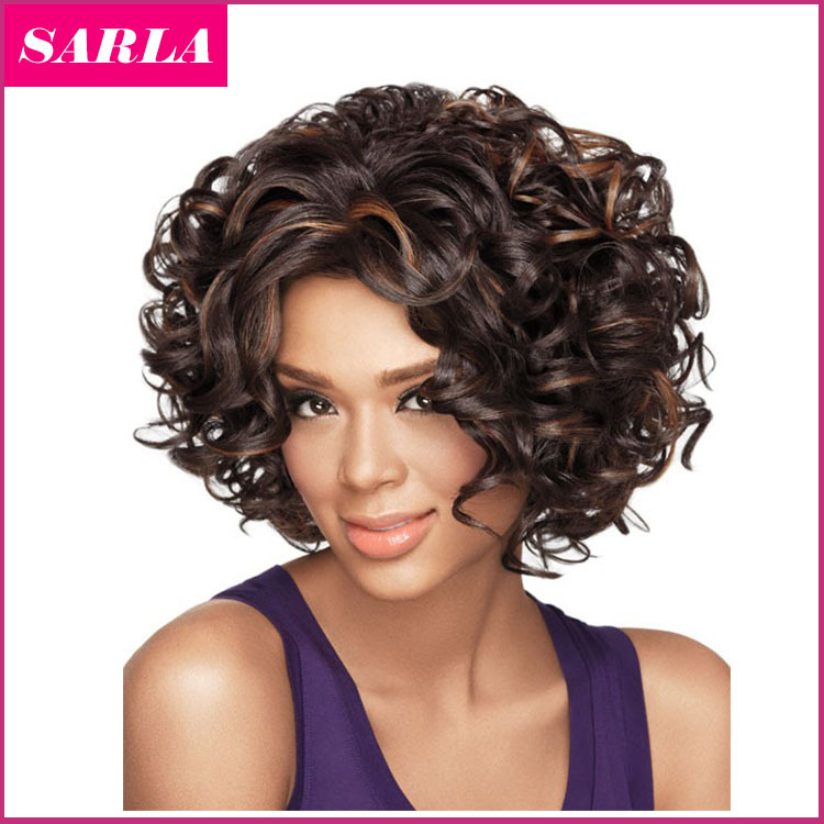 Free Shipping 1pc Short Synthetic Wigs Natural Curly Wig