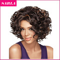 Free Shipping 1PC Short Synthetic Wigs Natural Curly Wig For African American Black Women Curl Kanekalon Fiber U Part Wig