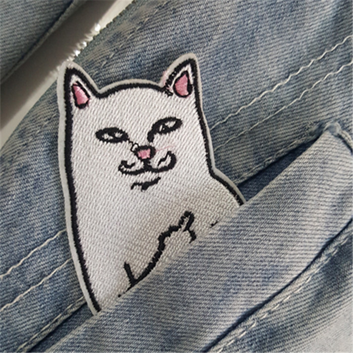 3pcs Embroidered Patch Middle Finger Cat Iron On Patches Sewing Applique For Clothing Jacket Hat Jeans Accessories Sticker ...