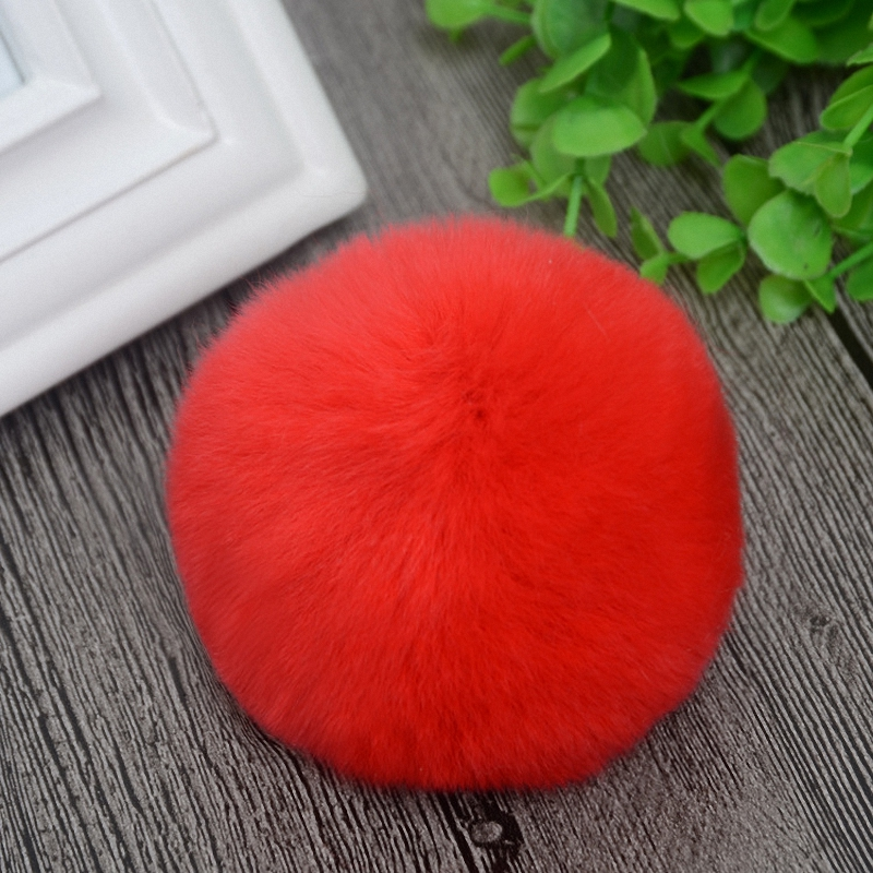8cm Nature Genuine Rex Rabbit Fur Ball Pom Pom Fluffy DIY Winter Hat   Skullies     Beanies   Knitted Cap Pompoms DEF001-red
