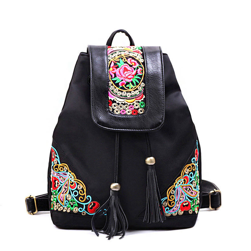 font b Women b font Blue Pu Leather Ethnic Embroidered font b Backpacks b font