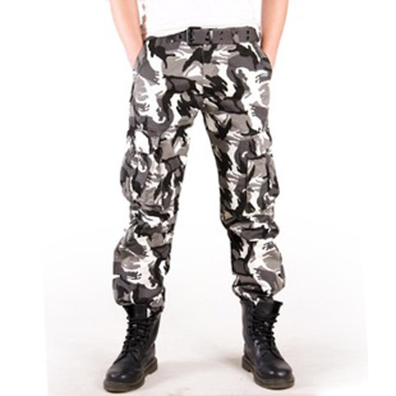 2017 hombre foto Real Outwear hombres pantalones de camuflaje moda Multi bolsillos militar ejército pantalones Joggers Camo Baggy Cargo Pantalones