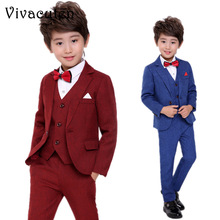Flowers Boys Formal Suit Wedding Birthday Party Dress Kids Blazer Vest Pants 3pcs Tuxedo Children Prom Performance Costume F025