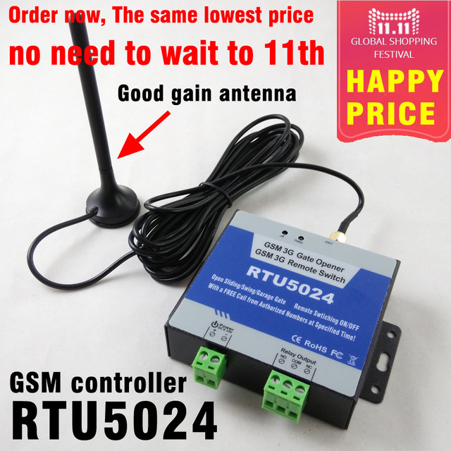Free shipping RTU5024 GSM Gate Opener Relay Switch Remote Access Control Wireless Sliding gate Opener By Free Call App support