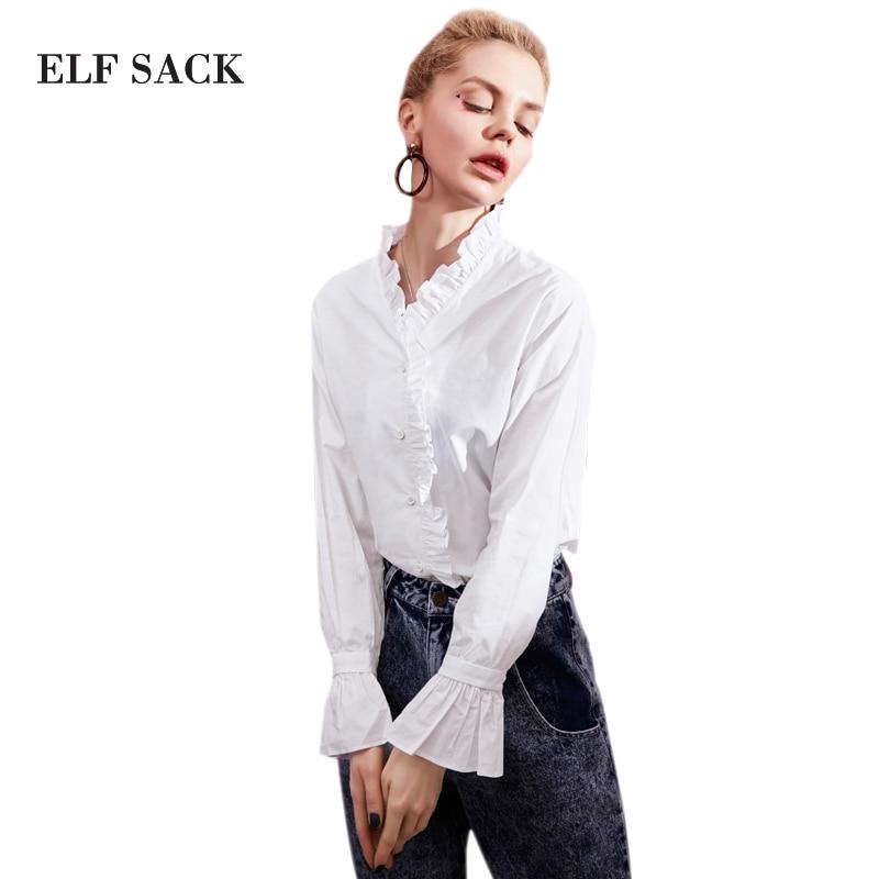 ELF SACK Stylish Women Solid   Blouses   Stringy Selvedge Womens Long Sleeve Basic OL White   Blouses   Female Pintuck   Blouse     Shirts