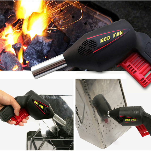 Outdoor Manual BBQ Grill Partner BBQ Fan Air Blower For Barbecue Tools Pressing Fire Bellows Portable Gun Camping