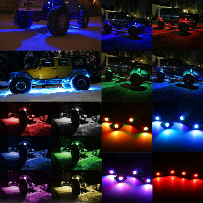 Bluetooth 4/8 Pods LED RGB qaya işıqları Offroad Mini qaya vasitə - Avtomobil işıqları - Fotoqrafiya 6