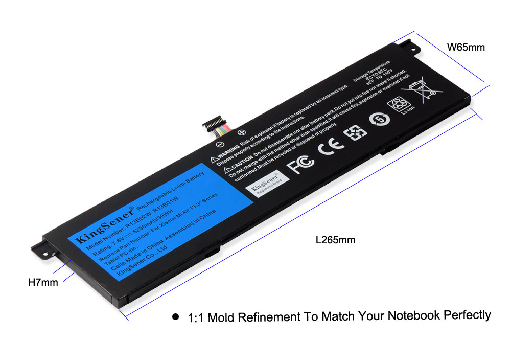 "Image 4 - Kingsener 7.6V 5230mAh New R13B01W R13B02W Laptop Battery For Xiaomi Mi Air 13.3"" Series Tablet PC 39WH-in Laptop Batteries from Computer & Office"