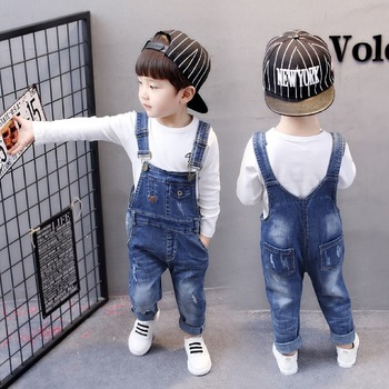 Boys Ripped Jeans Overalls Autumn Children Strap Solid Cotton Jumpsuit Casual Kids Girls Clothing Overalls Pants 2-5T Kids Pants 1