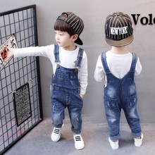 Boys Ripped Jeans Overalls Autumn Children Strap Solid Cotton Jumpsuit Casual Kids Girls Clothing Pants 2-5T
