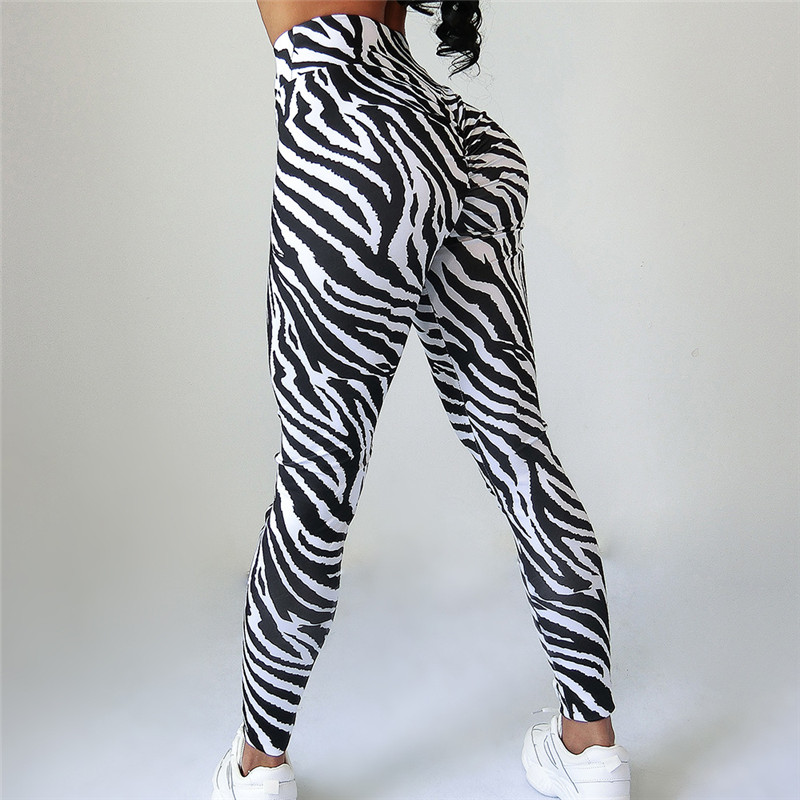 2019 Women Zebra Prints   Leggings   High Waist Slim Pants Running Sport Trousers Ladies Denim Skinny Push Up Jogging