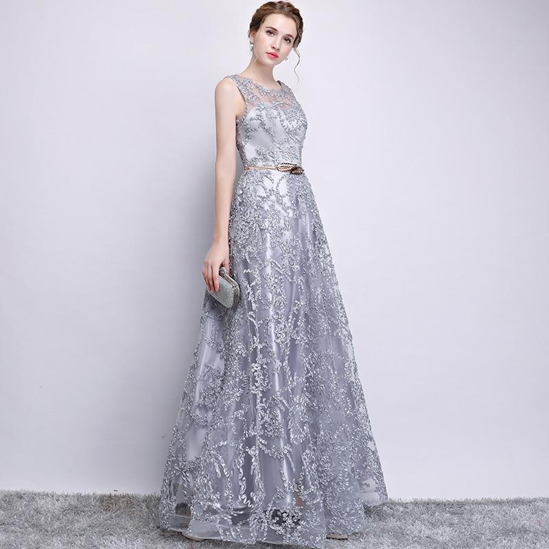 Nouveau 2018 Robe De soirée élégant Banquet Champagne dentelle sans manches étage-longueur longue fête formelle Robe grande taille Robe De soirée