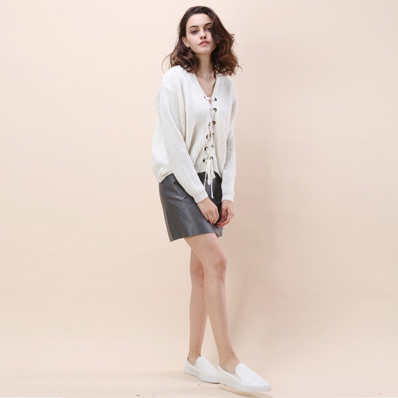 HYH HAOYIHUI Women Sweater Solid White Sweet Sweatwer V-neck Long Sleeve High-low Lace-up Cardigans Preppy Style Loose Casual