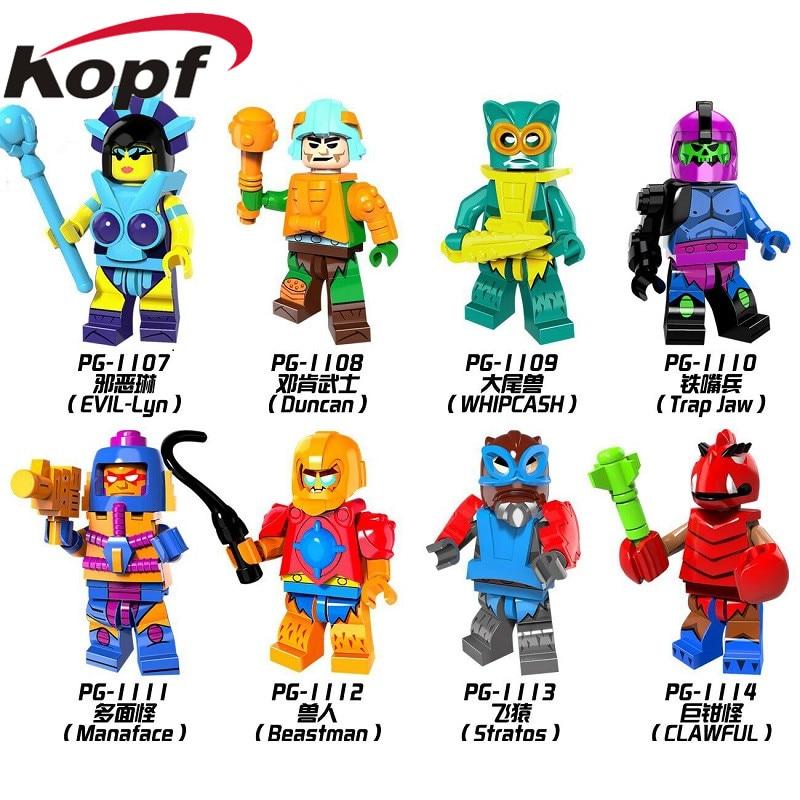 Building Blocks Super Heroes HE-Man MASTERS Evil-Lyn Whipcash Trap Jaw Clawful Beastmas Stratos Bricks Toys for children PG8094 mira lyn kelly kai nežinojau tavo vardo