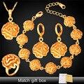 Flor de La Boda africana Joyería de Traje Para Las Mujeres Chapado En Oro Pulsera Anillo Pendientes Collar Set PEHR1113