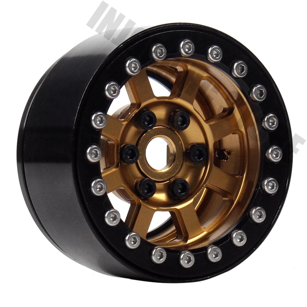 4 piezas de 1,9 pulgadas oro de llanta de rueda de BEADLOCK para Axial SCX10 90046 D90 1/10 RC Crawler de cubo de rueda