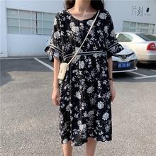 Women Summer Dresses White Flower Printing Crepe Dress Female Ruffle Hem Short Sleeve Knee Length Loose One Piece Dress 5XL 4XL flower embroidered ruffle hem tee