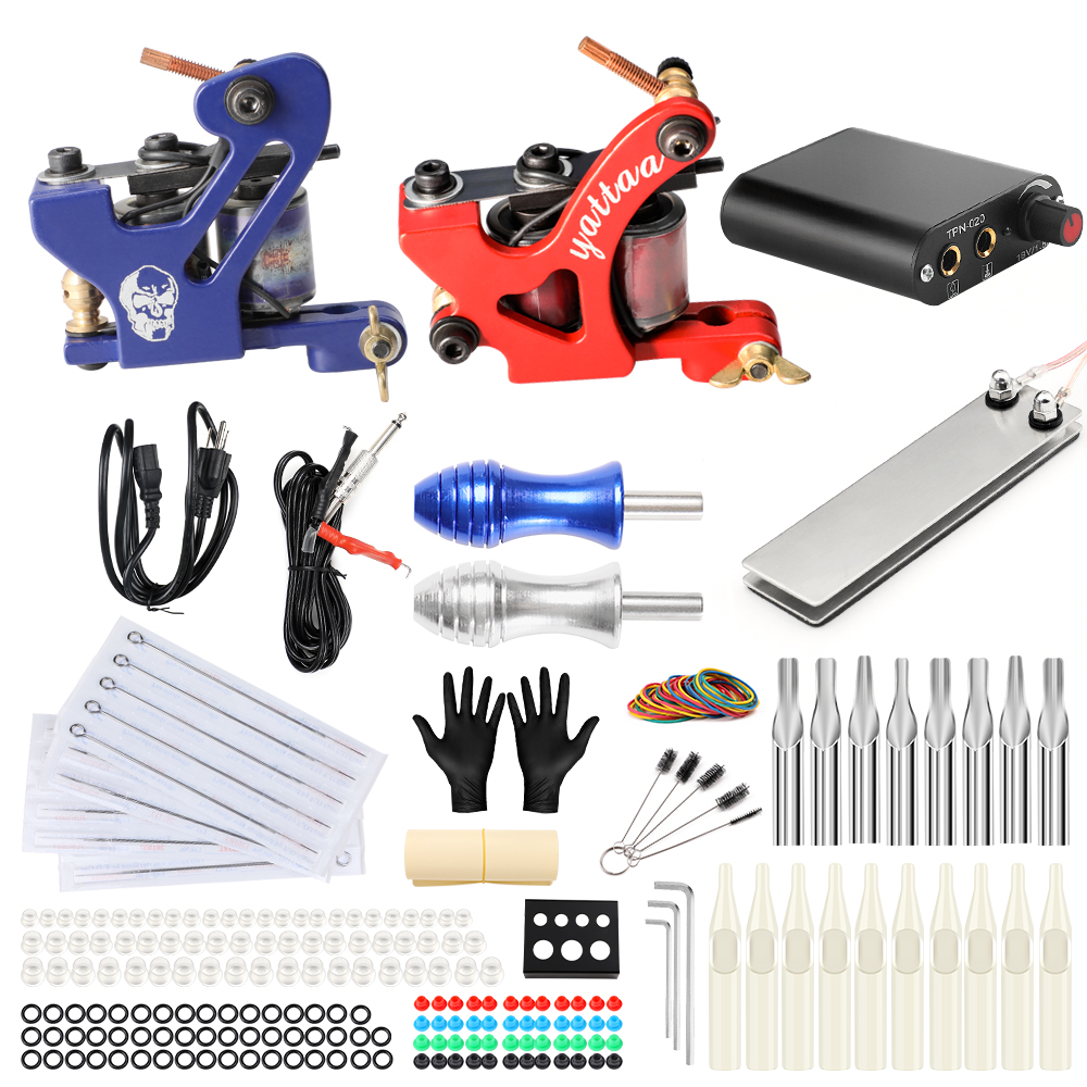 Professional Complete Tattoo Kit for Beginner Power Supply Foot Pedal Switch Needles 2 Machine Set rotary tattoo gun maquinas lc1 d3210 690v 3 poles 1no ac contactor 24v 32 amp