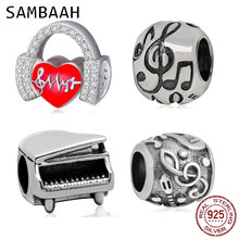 купить Sambaah Love Music Heartbeats Charm with CZ Stone 925 Sterling Silver Headphone Beads fit Original Pandora Music Note Bracelet дешево