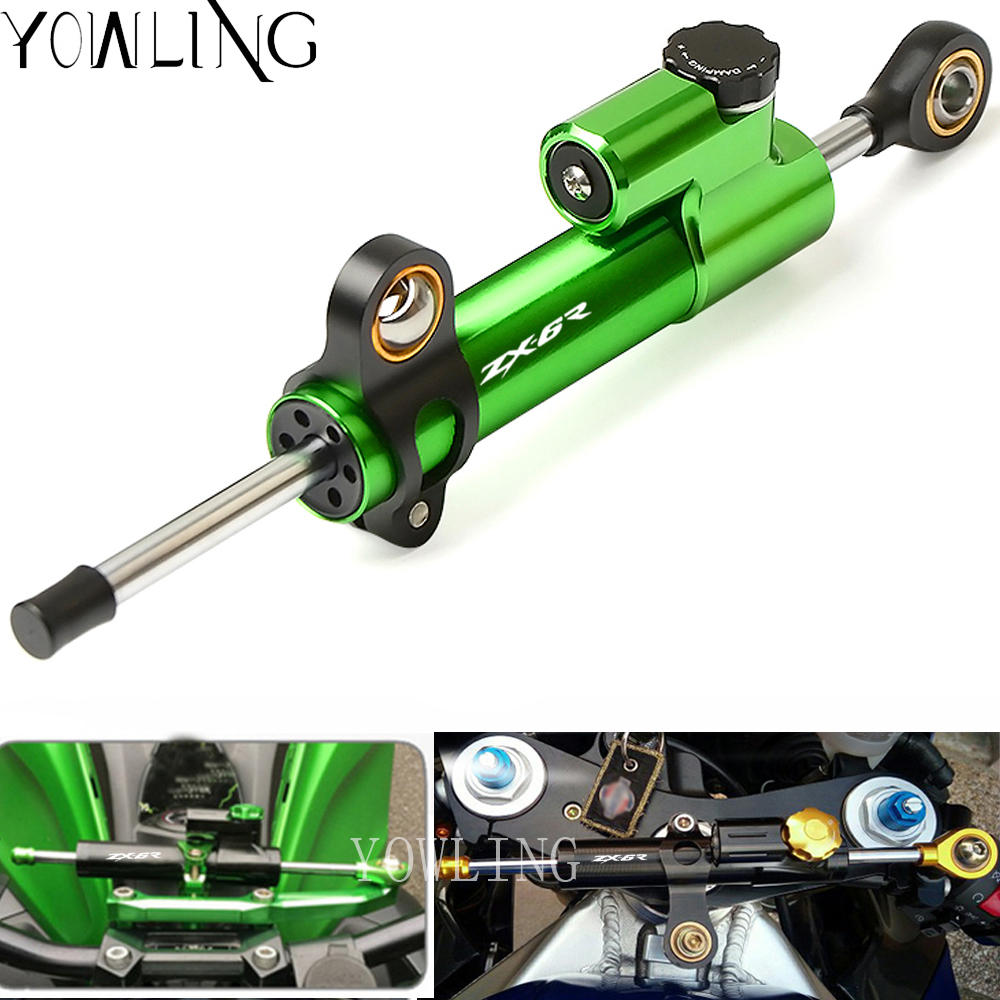 CNC Damper Steering StabilizerLinear Reversed Safety Control for Kawasaki Ninja ZX6R ZX-6R 2007-2016 Steering Damper Stabilizer steering damper stabilizer bracket mounting holder for kawasaki ninja zx6r zx 6r 2009 2016 2010 2015 gold