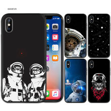 Black Rubber Soft Silicone Case Bag Cover for iPhone XS XR X 7 8 6 6S 5C 5E 5S 5 Plus Max Shell Fundas Space Love Moon Astronaut(China)