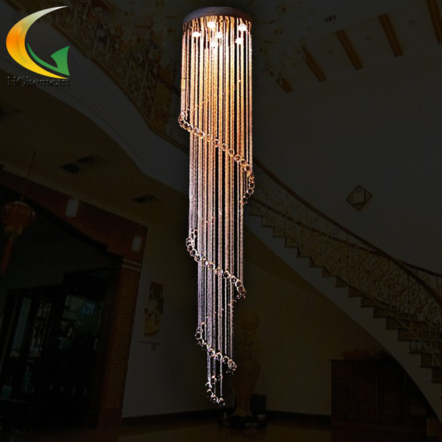 Crystal union fashion modern minimalist staircase pendant lamp villa double floor lamp crystal  LED living room lamp