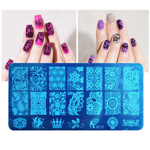 Image 3 - 10 Designs Plastic Stamping Plate  1PCS/Lot BC Series Flower Lace Image Template Nail Art Image Stamping Polish Print Plate BC10