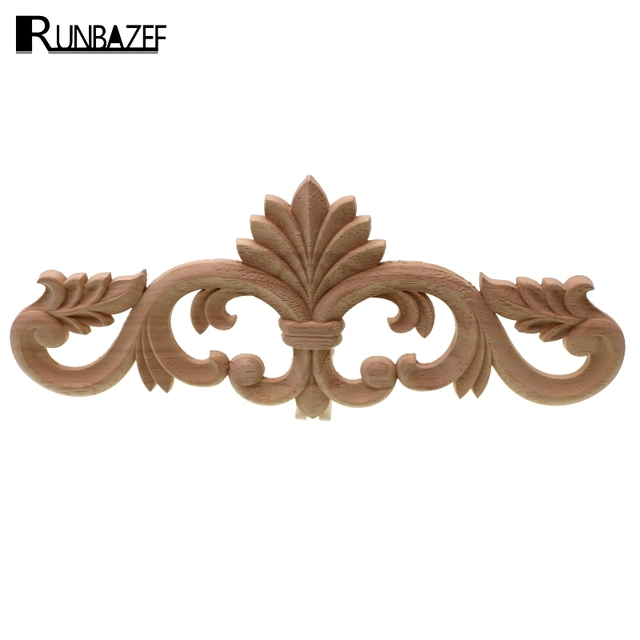 RUNBAZEF Floral Wood Carved Corner lay Applique Frame Unpainted