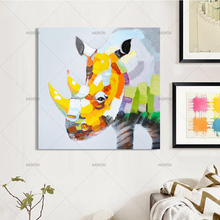 Handmade Oil Painting on Canvas abstract rhinoceros Artwork Home Decor Wall Art Picture for kids Room hotel