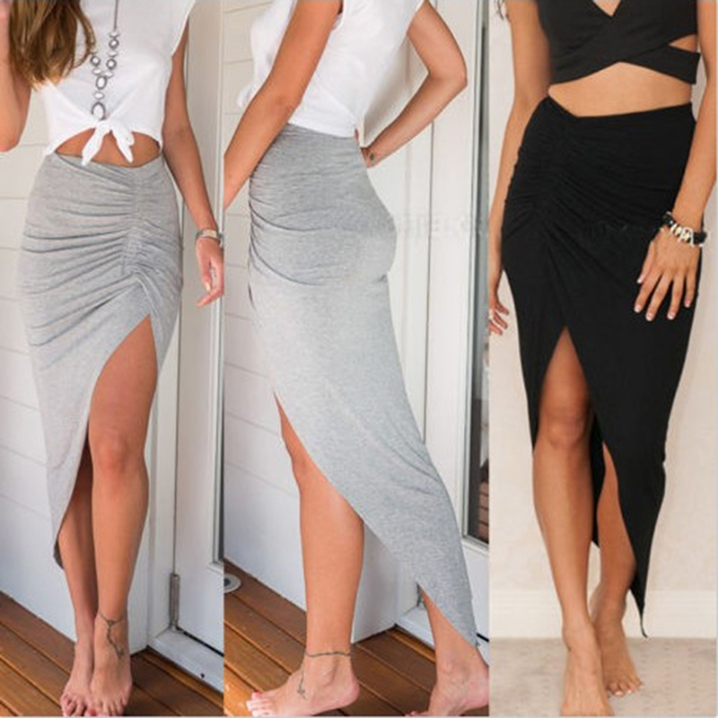 2019 New Sexy Women's Side High Split Slim Irregular Skirts Shirring Design Pleated Ladies Skinny Slit Maxi Long Pencil Skirt