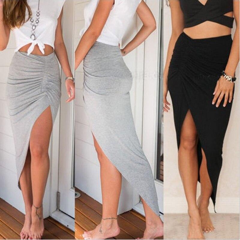 2019 New Sexy Women's Side High Split Slim Irregular Skirts Shirring Design Pleated Ladies Skinny Slit Maxi Long Pencil Skirt