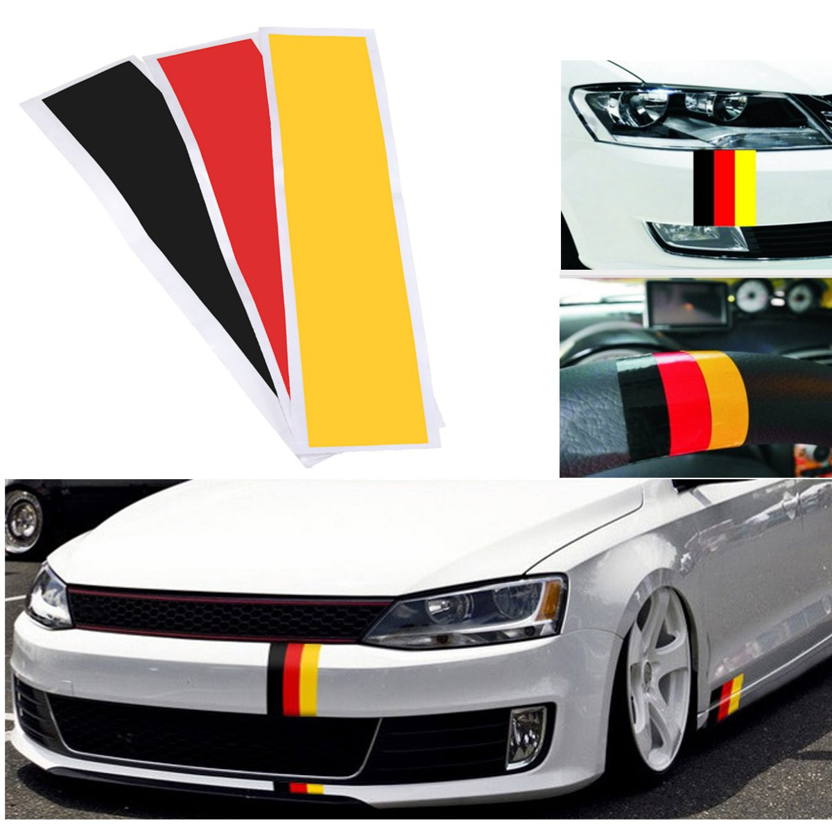 Набор наклеек с немецким флагом, цветная полоса, наклейка для Audi /BMW /Mercedes /VW
