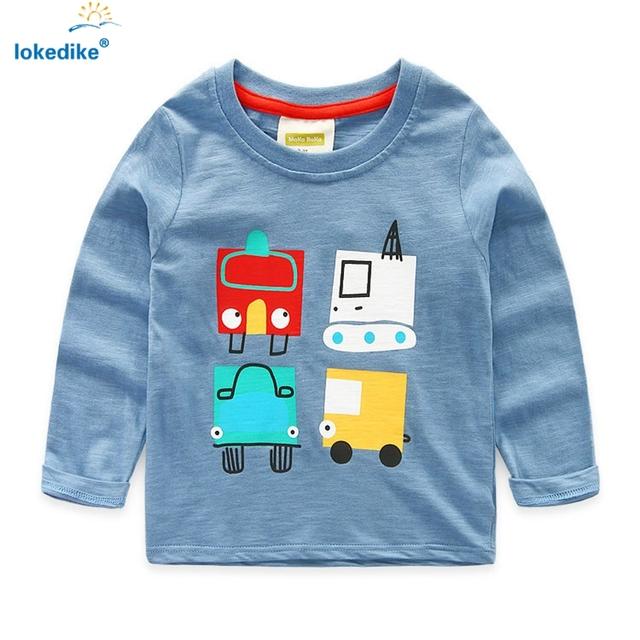 Crianças Hoodies Roupas de Bebê Meninos 2017 Outono Calça Jeans de Cor Dos Desenhos Animados Do Carro de Impressão de Algodão Macio Meninos Pollover Outwear Treino T669