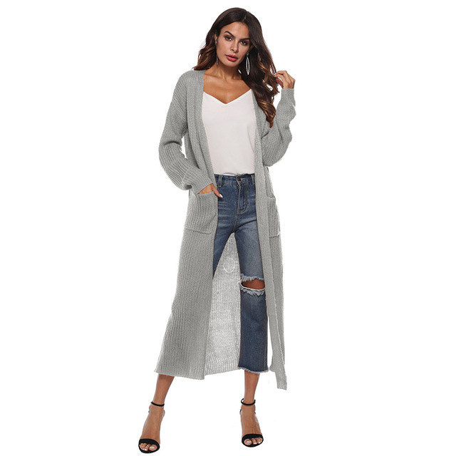 873479458a0dc2 Women Sweater Lone Sleeve Boyfriend Cardigan Pocket Chunky Knitted Coat  Computer Knitted Oversized Sweater Long Chic Cardigans