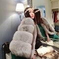 Natural Silver Fox Fur Coats For Women Gruesa Caliente Genuino de la Piel Mujer de Lujo Rica Piel Down Escudo Real de Piel de Zorro Abrigo 10417