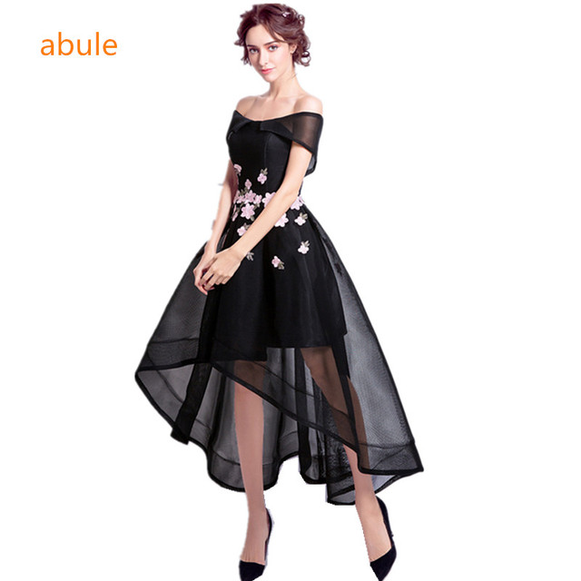 fedaf0bc1f abule Pink   black Embroidery Flower Short Evening Dresses Bride Banquet  Sleeveless Satin Party Gown Formal Dress Robe De Soiree