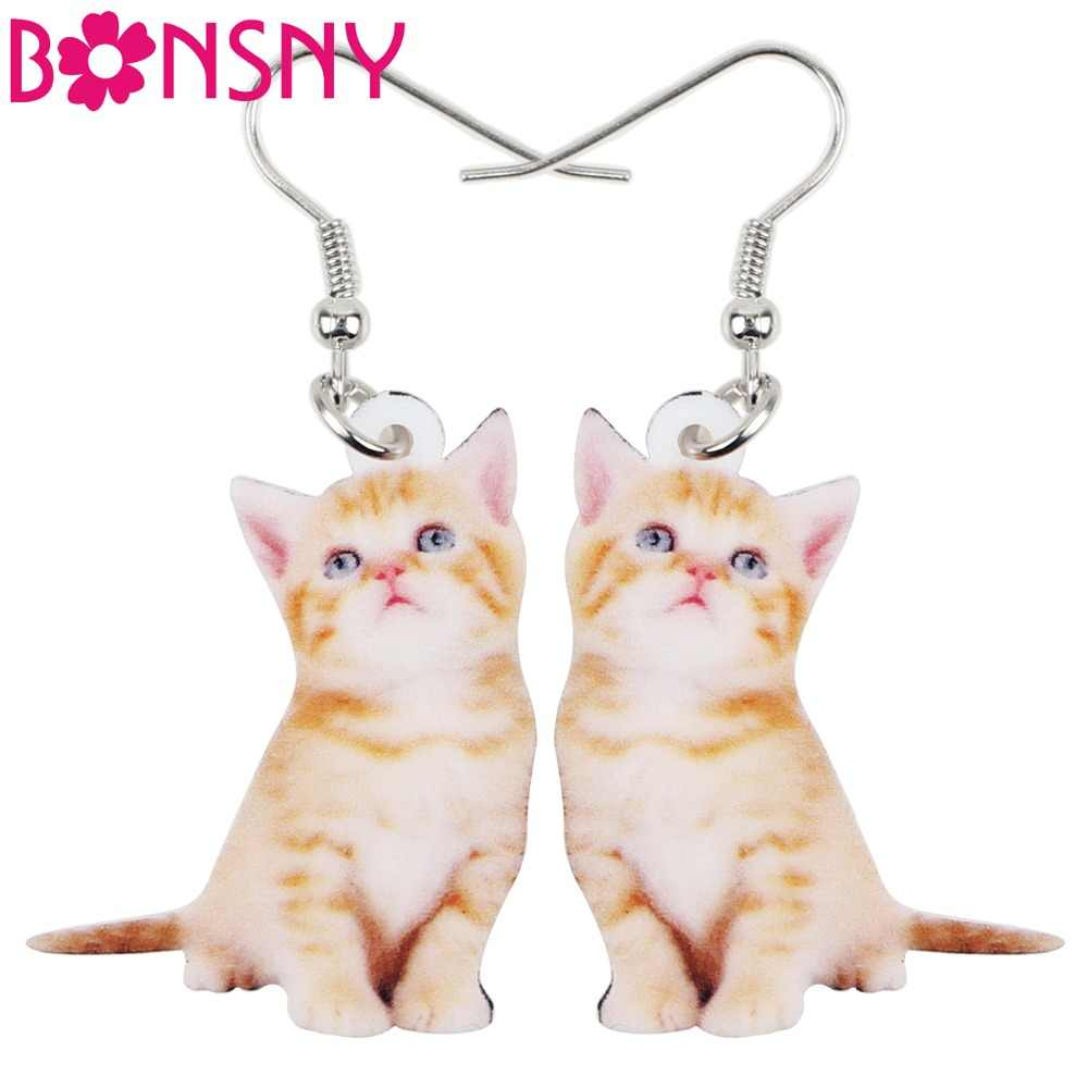 Bonsny Acrylic Cartoon Cute Cat Kitten Earrings Big Long Dangle Drop Fashion Animal Jewelry For Girls Women Ladies Wholesale