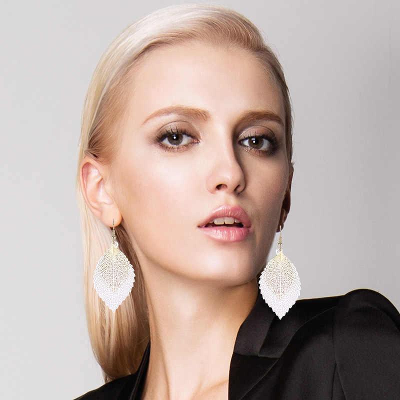 Baru Warna-warni Daun Anting-Anting Rumbai Panjang Anting-Anting untuk Wanita Серьги Tanaman Kolczyki Liontin Emas Perhiasan Pendientes Mujer Moda 2019