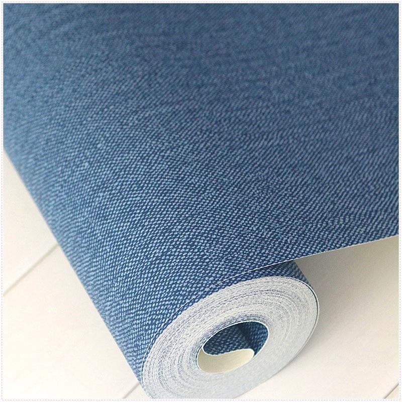 Modern Solid Color Dark Blue Wallpaper Roll Plain Denim